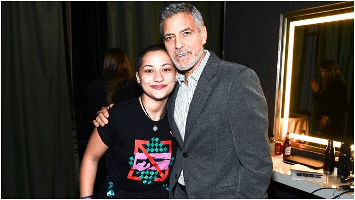 Emma Gonzalez and George Clooney attend