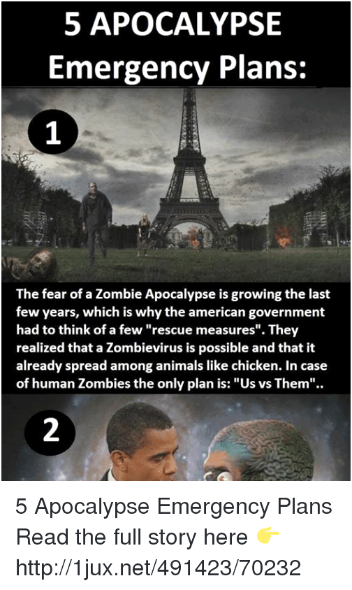 The government includes a zombie apocalypse emergency plan threat to humans simply because